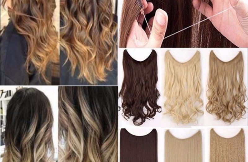 Hair Extensions Synthetic 24″ Invisible Wire Straight Wavy Long Heat Resistant