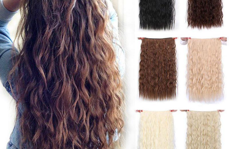 Hair Extensions Synthetic Long Clips in Wave Blonde Black Brown Red 22″ 28""
